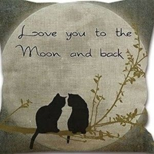 Other - Pillow Cover- New- Cats Love You to Moon and Back